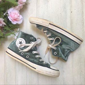 Converse High Top Green Velvet Sneakers Chucks